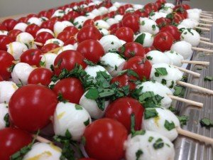 Tomato and mozarella canapes